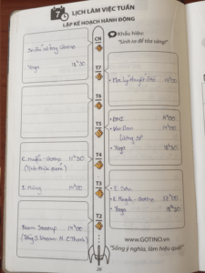 Sổ tay gotino - Công việc hàng tuần